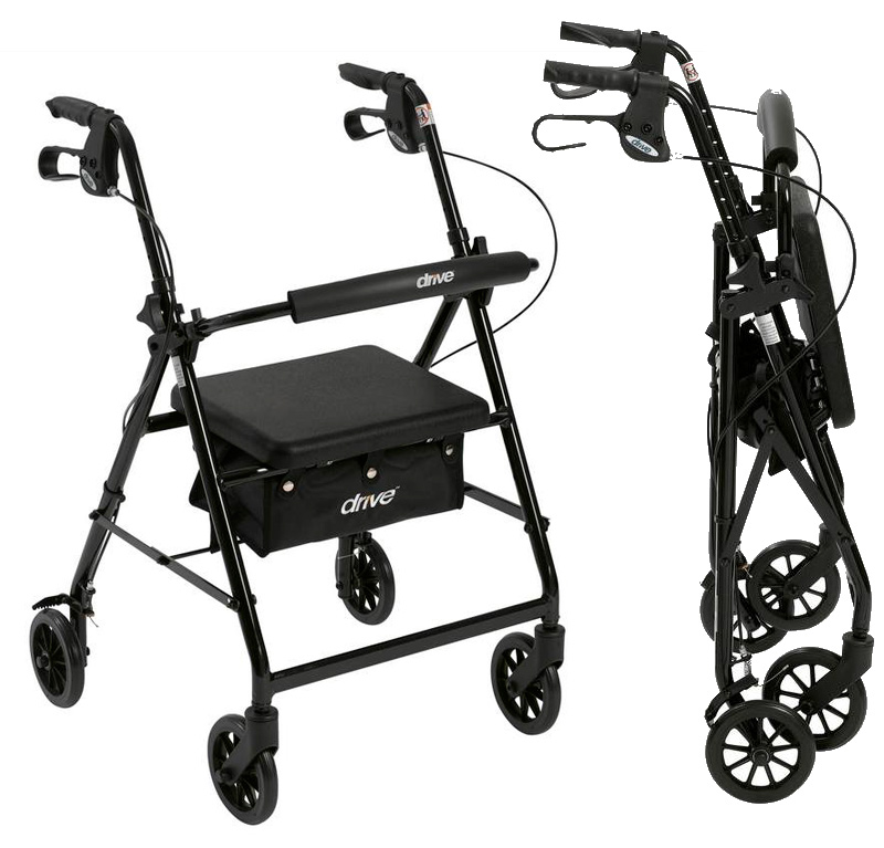 Rollator walker w back support pad seat walkers and for Mobility walker